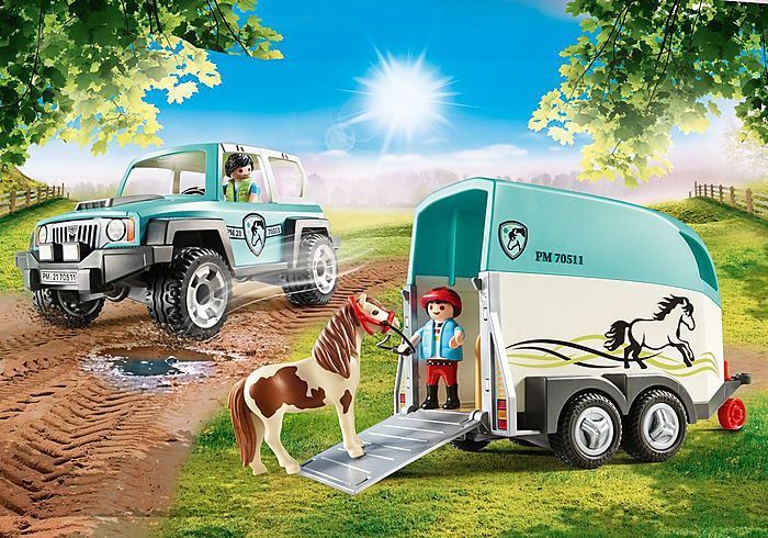 Auto s přívěsem pro poníky 70511 Playmobil Playmobil
